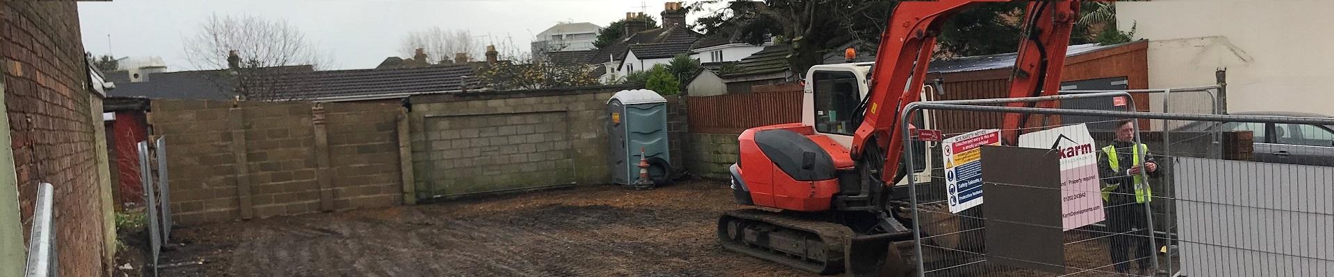 Garages Demolished at Denmark Lane, Poole